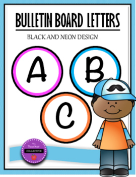 Bulletin Board Letters Black and Neon