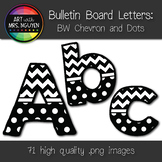 Bulletin Board Letters: Black and White Chevron and Dots (Classroom Decor)