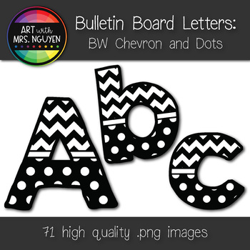 Bulletin Board Letters: Black and White Chevron and Dots (