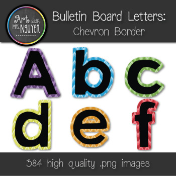 Bulletin Board Letters: Black with Chevron Border (Classroom Decor)