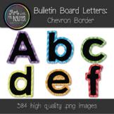 Bulletin Board Letters: Black with Chevron Border (Classro