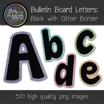 Bulletin Board Letters: Black with Colorful Glitter Border (Classroom Decor)