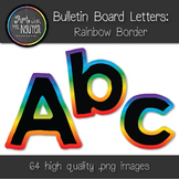 Bulletin Board Letters: Black with Rainbow Gradient Border (Classroom Decor)