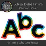 Bulletin Board Letters: Black with Rainbow Gradient Border (Classroom Decor)