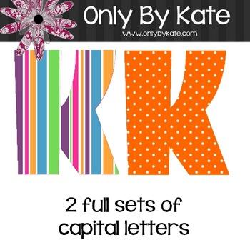 Bulletin Board Letters, Bubble Gum Stripes, Print Your Own