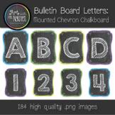 Bulletin Board Letters: Chevron Chalkboard Mounted (Classroom Decor)