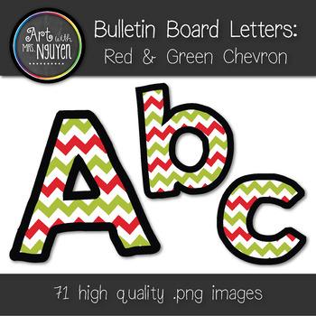 Bulletin Board Letters: Christmas Chevron (Classroom Decor)