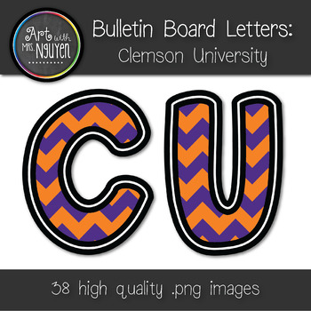 Bulletin Board Letters: Clemson - Purple & Orange Chevron (Classroom Decor)