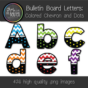 Bulletin Board Letters: Colored Chevron and Dots - 6 Colors (Classroom Decor)