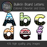 Bulletin Board Letters: Colored Chevron and Dots - 6 Colors (Classroom Decor)