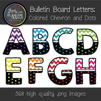 Bulletin Board Letters: Colored Chevron and Dots - 8 Colors (Classroom Decor)