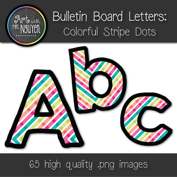 Bulletin Board Letters: Colorful Stripe Dots (Classroom Decor)