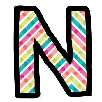 Bulletin Board Letters: Colorful Stripe Dots (Classroom Decor)