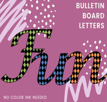 Bulletin Board Letters: Diamond Pattern Small: Calligraphy Font