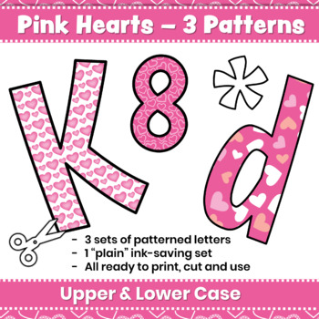 Bulletin Board Letters & Editable Bunting: Valentine's Day | Pink Hearts Decor