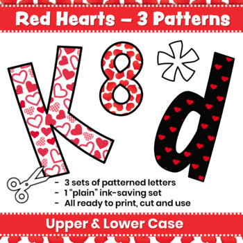Valentine's Day Bulletin Board Letters & Editable Bunting: Red Hearts Decor