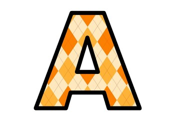 Bulletin Board Letters, Fall Letters, Orange Argyle Alphabet, Classroom Decor