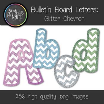 Bulletin Board Letters: Glitter Chevron (Pink, Green, Silver, Blue)