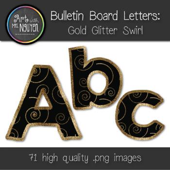 Bulletin Board Letters: Gold Swirl (Classroom Decor)