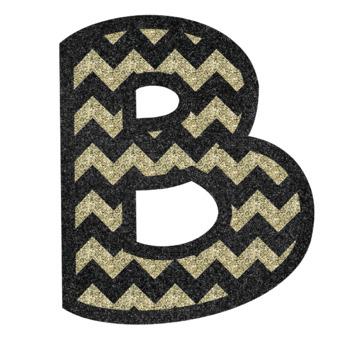 Bulletin Board Letters: Gold and Silver Glitter Chevron (Classroom Decor)
