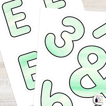 Bulletin Board Letters: Green Watercolor Alphabet & Punctuation Marks