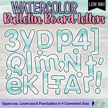 Bulletin Board Letters: Teal Watercolor Alphabet & Punctuation Marks