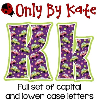 Bulletin Board Letters, Groovy Cars, Print Your Own