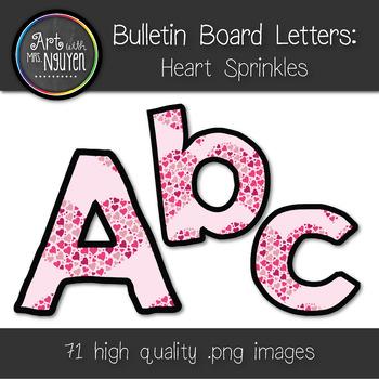 Bulletin Board Letters: Heart Sprinkles (Classroom Decor)