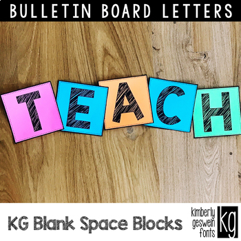 Bulletin Board Letters: KG Blank Space Sketch Blocks ~ Easy Cut