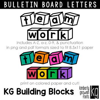 Bulletin Board Letters: KG Building Blocks