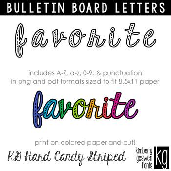 Bulletin Board Letters: KG Hard Candy Striped Script
