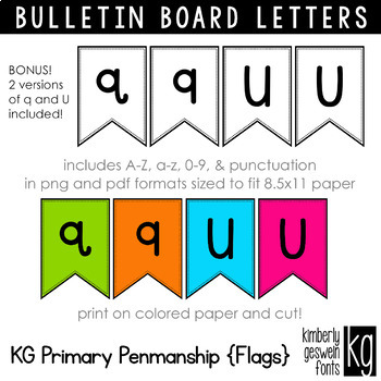Bulletin Board Letters: KG Primary Penmanship Flags ~ Easy Cut