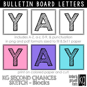 Bulletin Board Letters: KG Second Chances Sketch Blocks ~ Easy Cut