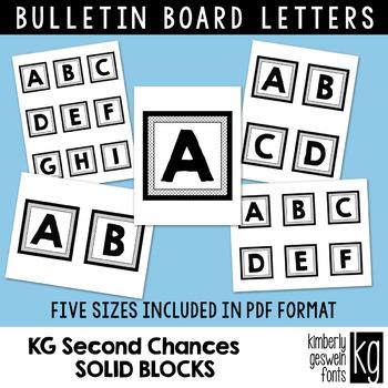 Bulletin Board Letters: KG Second Chances Solid Blocks ~ Easy Cut