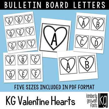 Bulletin Board Letters: KG Valentine Hearts Blocks ~ EASY CUT