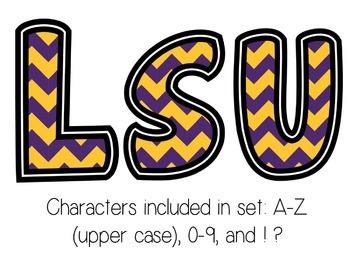 Bulletin Board Letters: LSU - Purple & Gold Chevron (Classroom Decor)
