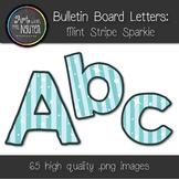 Bulletin Board Letters: Mint Stripe Sparkle (Classroom Decor)
