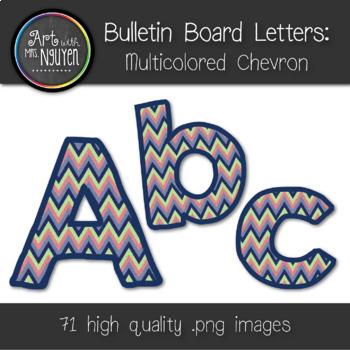 Bulletin Board Letters: Multicolor Chevron (Classroom Decor)
