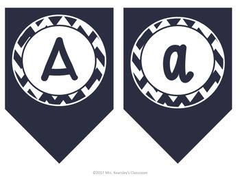 Bulletin Board Letters- Navy Chevron Bunting Banner