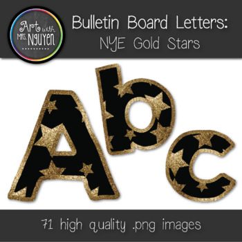 Bulletin Board Letters: New Year's Eve Gold Stars (Classroom Decor)