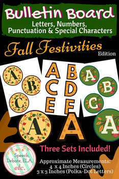 Bulletin Board Letters & Numbers (3 sets) FALL FESTIVITIES Edition
