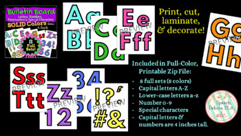 Bulletin Board Letters & Numbers: 8 Full Sets in 8 Solid Colors