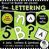Black and White Bulletin Board Letters & Editable Banners   Ink-Saving