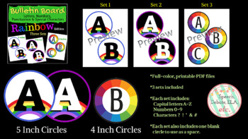 Bulletin Board Letters & Numbers- Rainbow Edition, 3 Sets