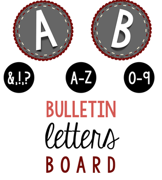 Bulletin Board Grey/Red Letters & Numbers