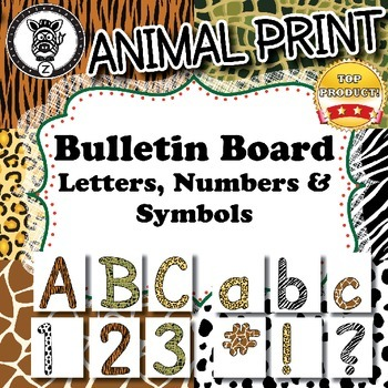 Bulletin Board Letters / Numbers / Symbols - Animal Print