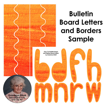 Bulletin Board Letters, Numbers, & Borders - Autumn Orange Watercolor - Easy Cut