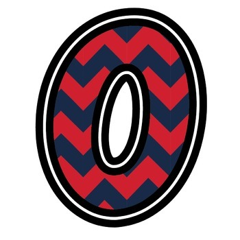 Bulletin Board Letters: Ole Miss - Crimson & Blue Chevron (Classroom Decor)