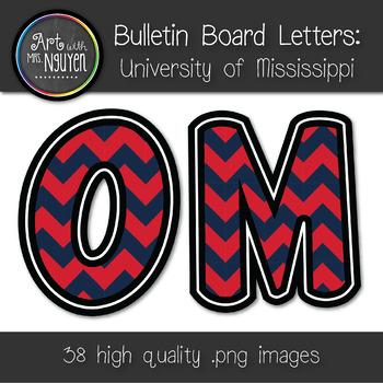 Bulletin Board Letters: Ole Miss - Crimson & Blue Chevron