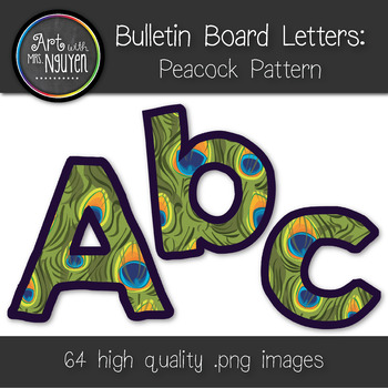 Bulletin Board Letters: Peacock Print (Classroom Decor)